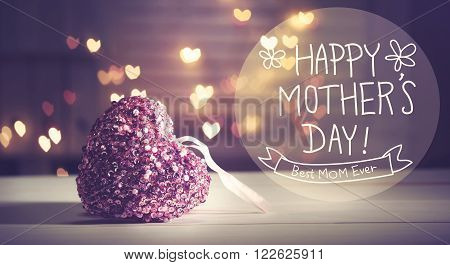 Happy Mothers Day Message With Pink Heart