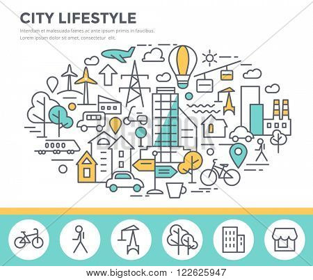 City lifestyle concept illustration, thin line flat design
