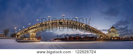 Panorama Patriarchal bridge from Moscow river ice in winter