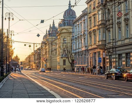 ZAGREB, CROATIA - March 18, 2016: Mihanoviceva street at sunset in the Croatian capital.