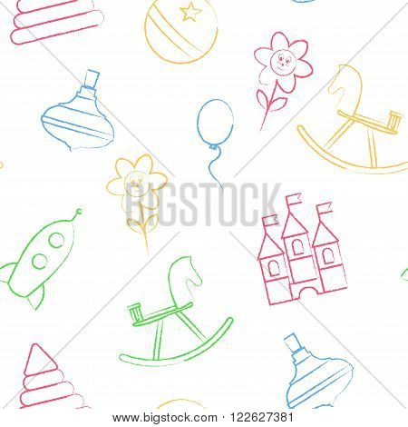 Seamless pattern with color crayon children's drawings on white background. Hand-drawn style. Seamless vector wallpaper with the image of balloon, flower, horse, pyramid, rocket, ball, whirligig