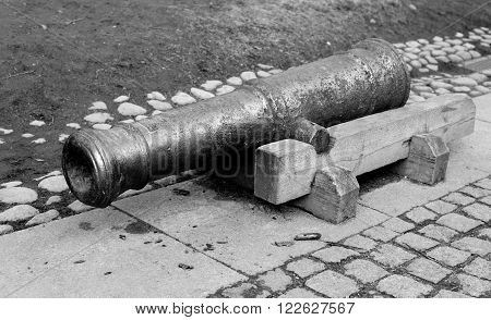 Old artillery cannons in Peter and Paul Fortress St.Petersburg Russia. Black and white.