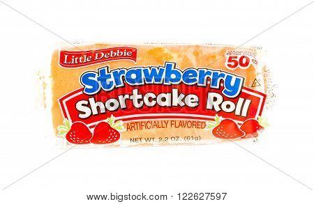 Winneconne WI - 5 June 2015: Package of Little Debbie strawberry shortcake roll.
