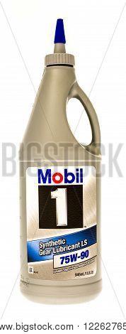 Winneconni WI - 19 July 2015: Bottle of Mobil 1 75W-90 gear oil.
