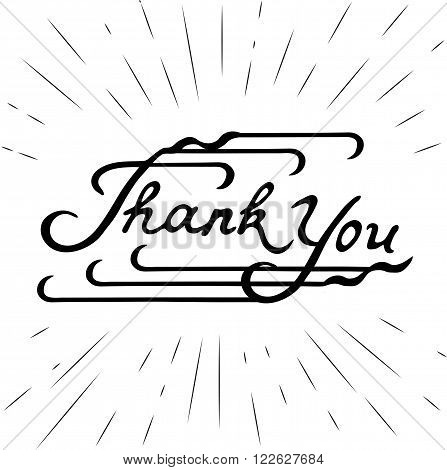 Hand written Lettering Thank You. Hand sketched isolated graphic element. Vintage style. Template for thanksgiving design of card flayer banner poster with letters thank you. Vector illustration.