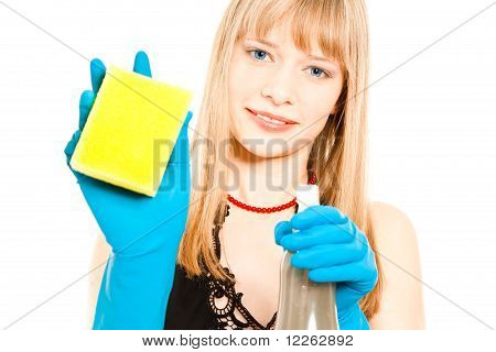Beautiful Woman Holding Sponge