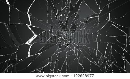 Pieces Of Shattered Or Cracked Glass On White