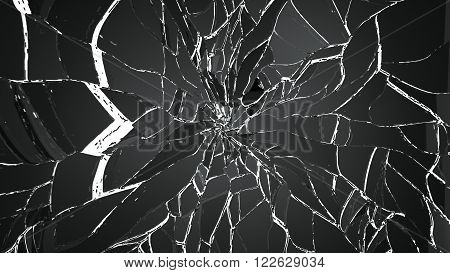 Pieces Of Splitted Or Cracked Glass Isolated On White