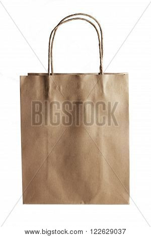 Brown Paper Bag on Isolated White Background