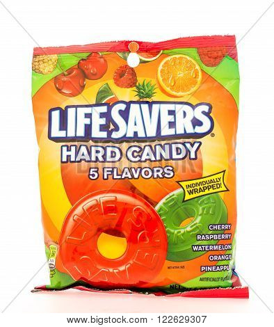 Winneconni WI - 16 June 2015: Bag of Lifesavers hard candy in assorted flavors