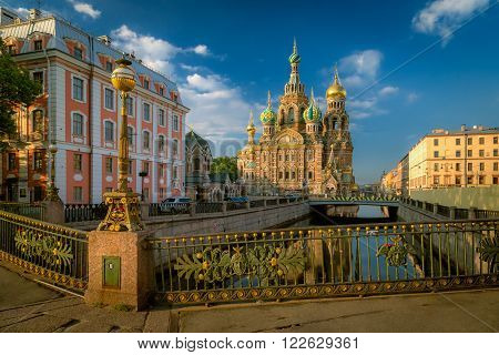 Saint Petersburg, Russia July 18: A view of the Church of the Resurrection (Savior on Spilled Blood). Saint-Petersburg in the morning July 18, 2014