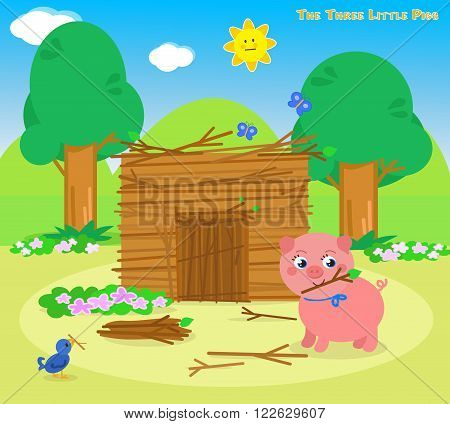 The three little pigs, second piglet builds a sticks house