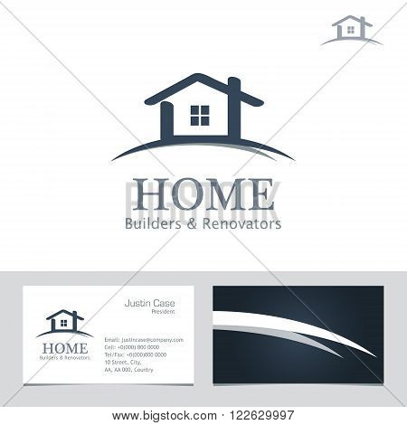 Real Estate Business sign & Business Card vector template for architecture bureau, home insurance, brokerage, building & renovation business. Business graphics. Corporate web site element. Sample text