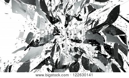 Shattered And Breaking Glass On White With Motion Blur