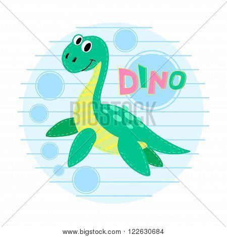 Water dinosaur vector illustration. Dinosaur vector background