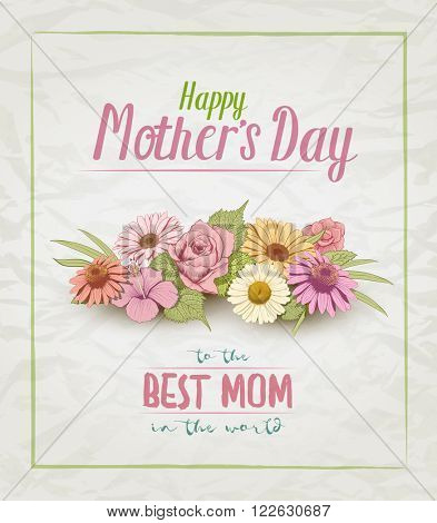 Vector Mother's Day card design template with colorful vintage hand drawn flowers.