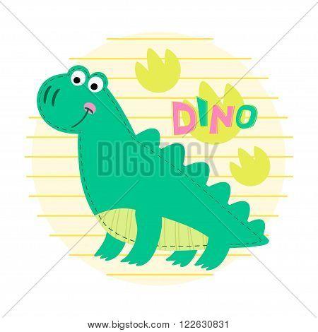 Dinosaur on striped background vector illustration. Dinosaur