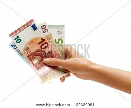 Woman's hand holding Euro Banknotes isolated on white background. Business concept