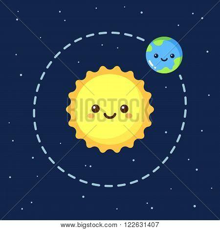 Cute cartoon Earth orbiting around Sun. Modern flat space illustration.