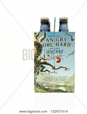 Winneconne WI - 15 March 2016: A six pack of Angry Orchard hard cider in crisp apple flavor
