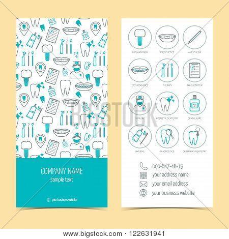 Flyer brochure for dental clinic. Set of promotional products. Flat design. Vector illustration