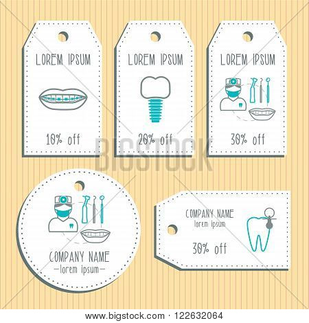 Dental discount gift tags. Ready to use. Flat design. Vector illustration
