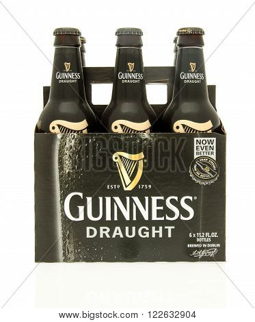 Winneconne WI - 15 March 2016: A six pack of Guinness draught beer