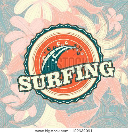 retro vintage summer  California surfing logo  for t-shirt or poster design