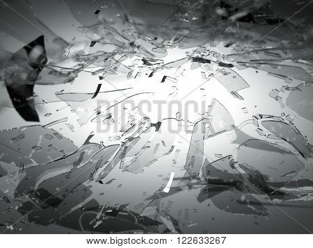 Broken Or Shattered Glass On Grey With Shallow Dof