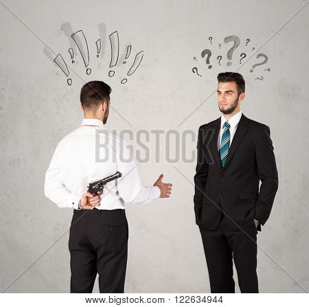 Ruthless businessman handshake with drawn exclamation and question marks around them head