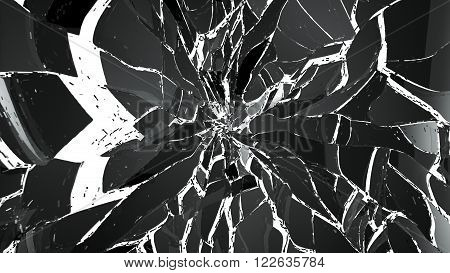 Demolished Or Shattered Glass Isolated On White