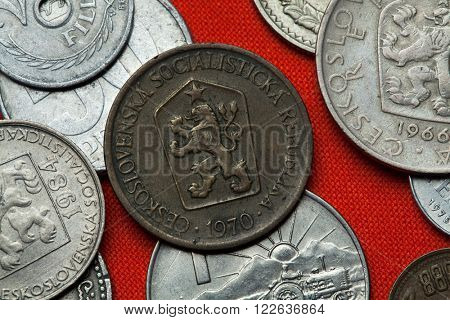 Coins of Czechoslovakia. Coat of arms of the Czechoslovak Socialist Republic depicted in the Czechoslovak one koruna coin (1970).