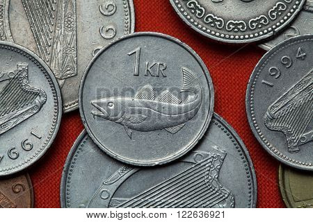 Coins of Iceland. Atlantic cod (Gadus morhua) depicted in the Icelandic one krona coin (1987).