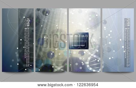Set of modern vector flyers. DNA molecule structure on dark blue background. Science vector background.