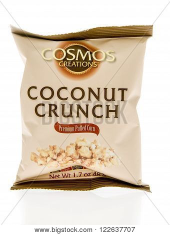Winneconne WI - 5 March 2016: A bag of Cosmos Creations puffed corn in coconut crunch flavor