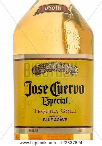 Winneconne WI - 10 March 2016: A close up shot of Jose Cuervo tequila gold.