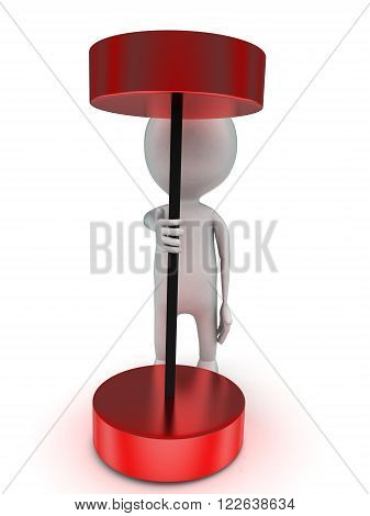 3D Man Trying To Lift Red Heavy Weight Dumbell Concept