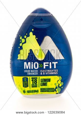 Winneconni WI - 13 June 2015: Bottle of MiO Fit liquid water enhancer in lemon lime flavor.