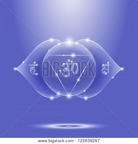 Vector illustration ajna. Chakra glossy icon. The concept of blue third eye chakra for design at India stile.