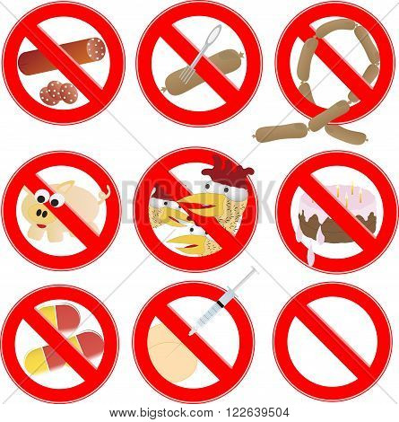 No Fast Food, Prohibition Sign. Vector Label. prohibiting signs