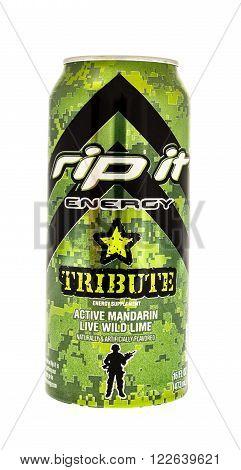 Winneconne WI - 5 June 2015: Can of Rip It tribute energy drink