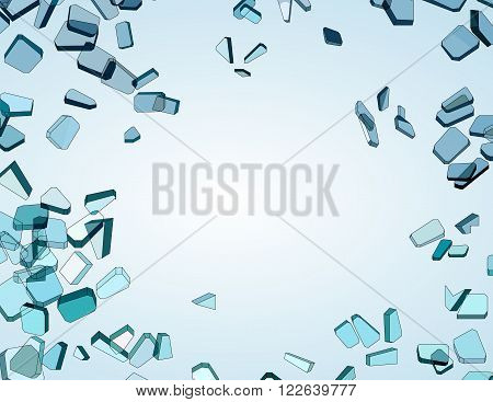 Many Pieces Of Shattered Blue Glass
