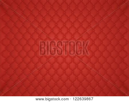 Red Leather Pattern With Buttons And Bumps