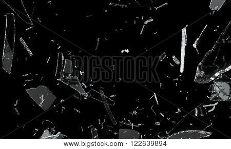 Shattered And Splitted Glass Pieces Over Black