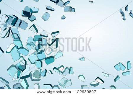 Shattered Blue Glass Pieces And Gradient