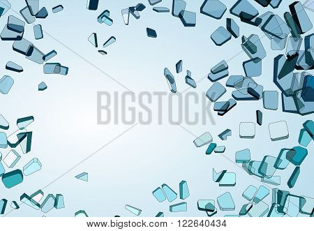 Pieces Of Demolished Or Shattered Blue Glass
