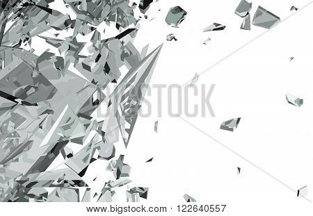 Sharp Pieces Of Shattered Glass Isolated On White