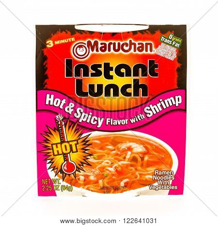 Winneconne WI - 9 August 2015: Maruchan instant lunh in hot and spicy with shrimp flavor
