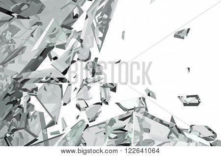 Pieces Of Demolished Or Shattered Glass On White