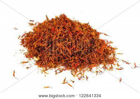 Spices Saffron Isolated on White Background Studio Photo